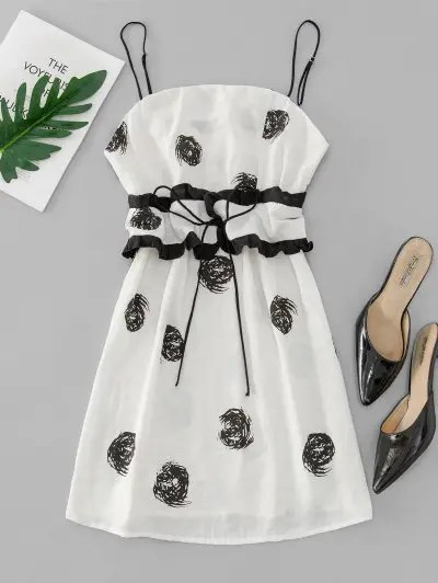 Printed Belted Cami Dress