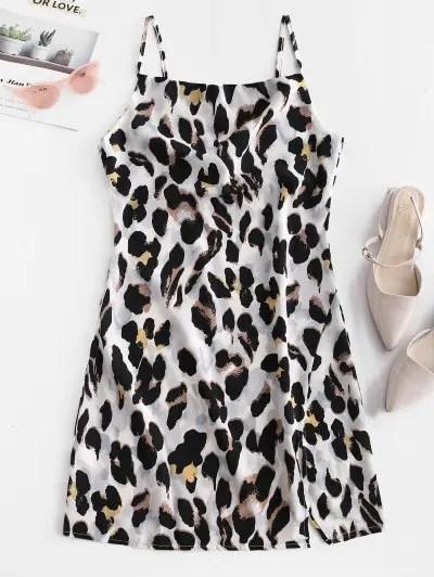 Leopard Print Slit Cami Dress