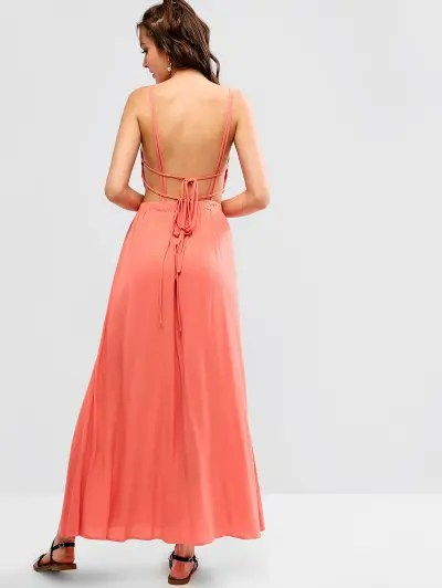 Spaghetti Strap Backless Long Dress