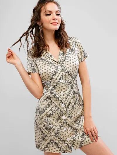 Paisley Button Up Mini Pocket Dress