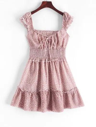 Smocked Printed A Line Dress