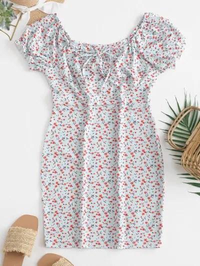 Scoop Neck Tiny Floral Dress