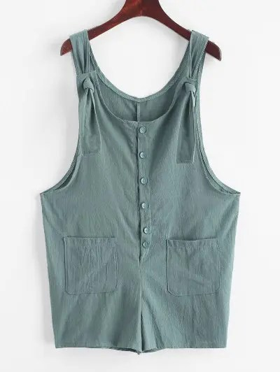 Buttoned Pockets Solid Romper