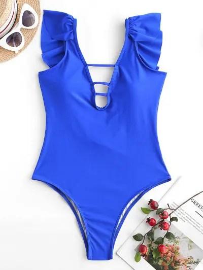 Ruffle Low Back One piece Swimsuit