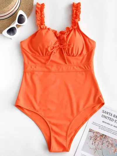 Frilled Neon One piece Swimsuit