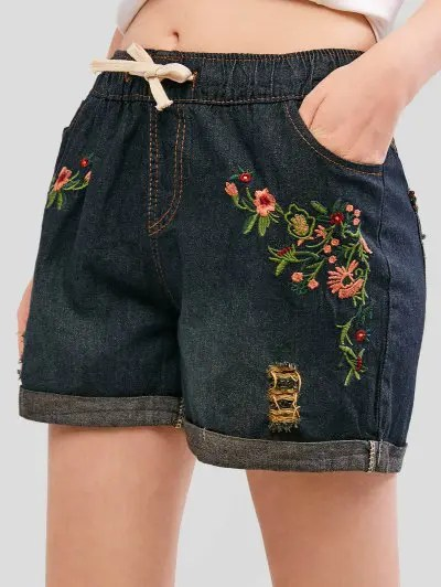 Flower Embroidered Ripped Shorts