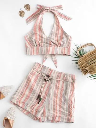 Striped Halter Shorts Set