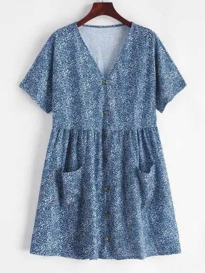 Buttons Printed Flare Dress