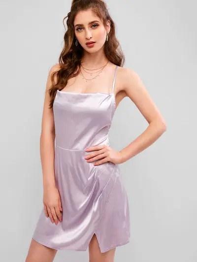 Slit Criss Cross Cami Dress