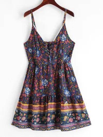 Floral Print Lace Up Cami Dress
