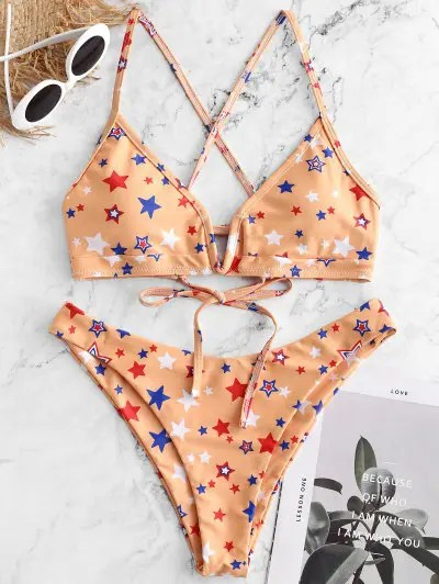 Star Print V wired High Cut Bikini Swimsuit