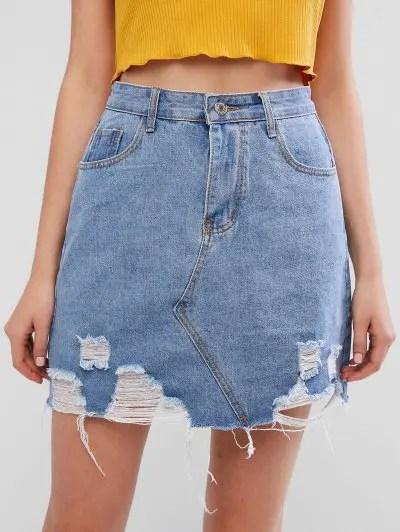 Distressed High Rise Denim Skirt