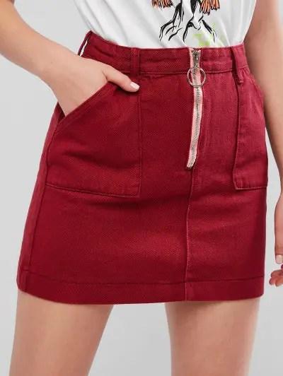 Pull Ring Zip Denim Skirt