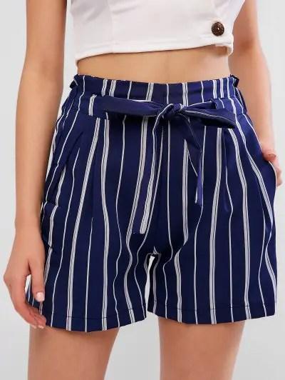 Stripes Paperbag Shorts