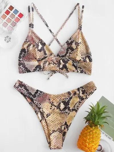 Snake Print Crisscross High Cut Bikini Swimsuit
