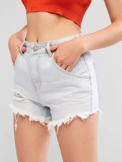 Frayed Light Wash Distressed Denim Shorts