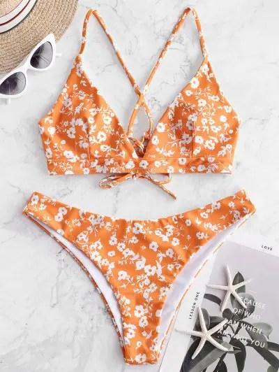 Flower Lace Up Bikini Swimwear