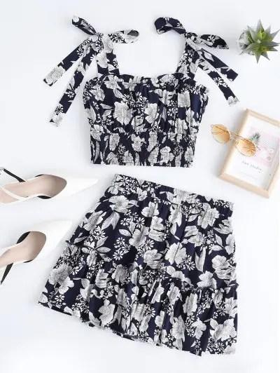 Tie Shoulder Floral Skirt Set