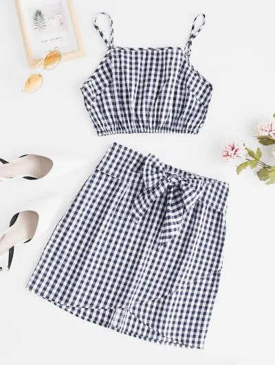 Plaid Cami Skirt Set
