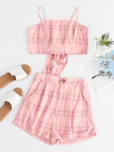 Plaid Crop Cami Top and Shorts Set