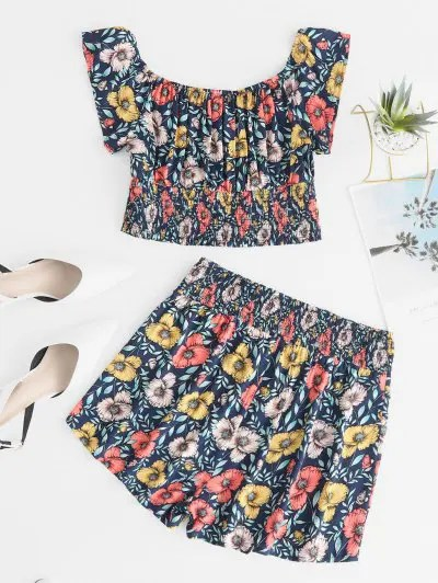 Flower Print Crop Top and Shorts Set