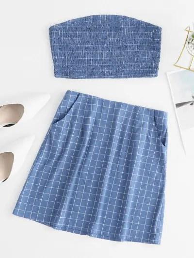 Plaid Shirred Pocket Skirt Set