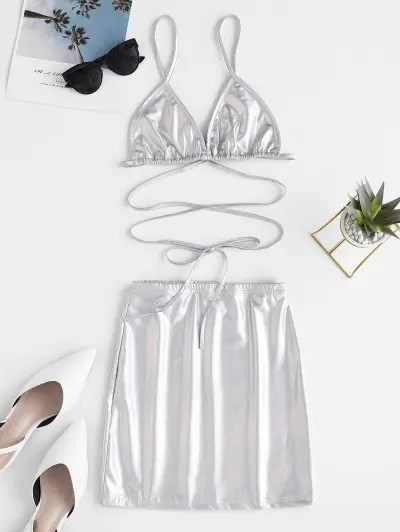 Shiny Cami Top and Sheath Skirt Set
