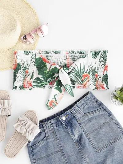 Flamingo Leaf Print Tied Bandeau Top