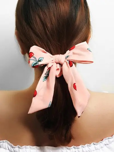Cherry Print Bowknot Scrunchie
