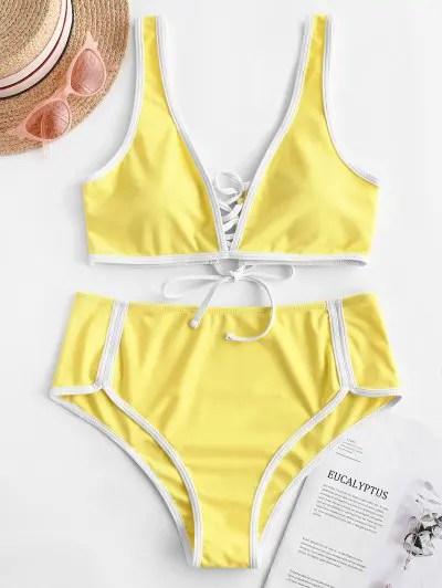 Contrast Trim Lace Up Bikini Swimwear