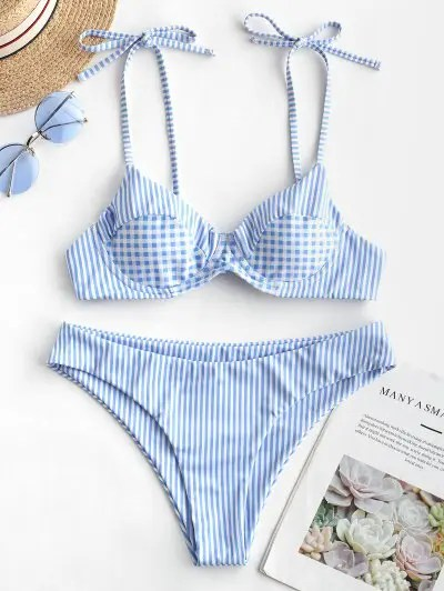 Striped Plaid Bikini Swimwear