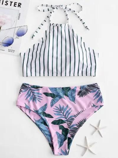 Palm Striped Scalloped Tankini Swimwear