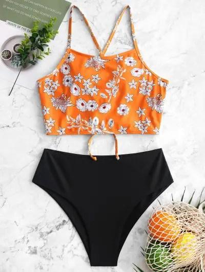 Floral Lace Up Tankini Swimwear