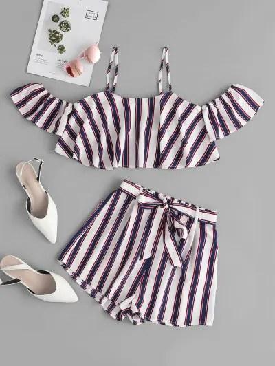 Striped Open Shoulder Shorts Set