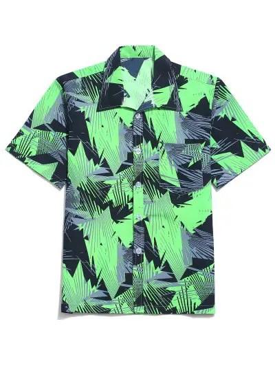 Geometric Graphic Print Beach Shirt