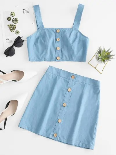 Chambray Top and Skirt Set