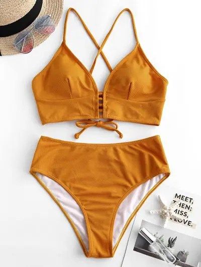 Lace up Textured High Waisted Tankini Swimsuit