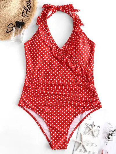 Halter Ruffle Polka Dot One piece Swimsuit