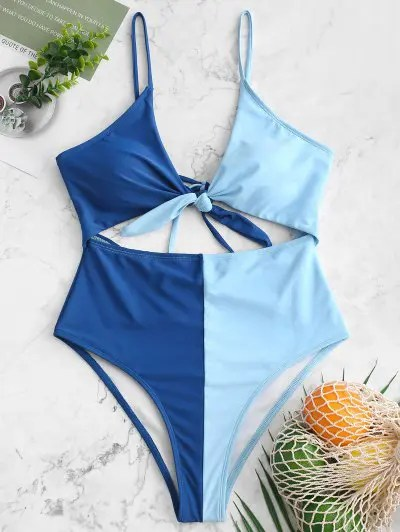 Two Tone High Waisted Swimsuit
