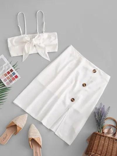 Crop Top And Front Split Skirt