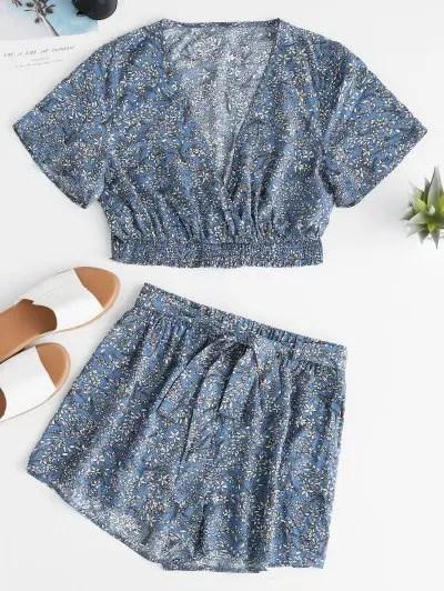 Flower Low Cut Shorts Set