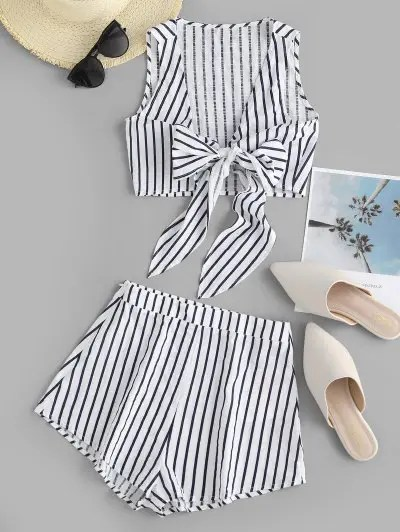 Striped Print Crop Top and Shorts Set