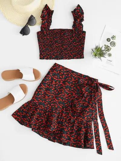 Cherry Print Crop Top and Mini Shorts Set