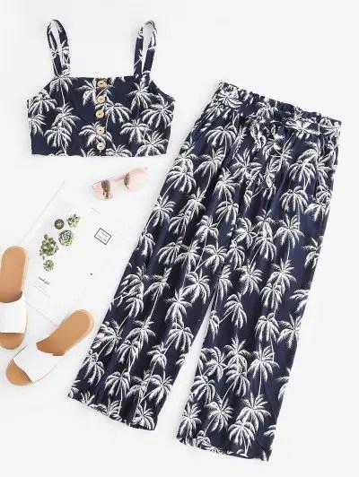 Printed Crop Top and Capri Pants Set