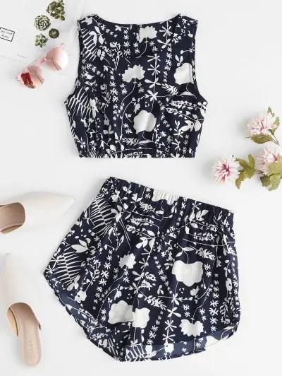 Leaf Print Sleeveless Shorts Set