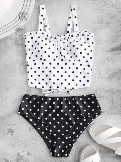 Polka Dot Ruffle Tankini Swimwear