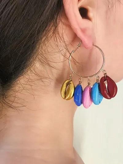 Shell Fringe Candy Color Hoop Earrings
