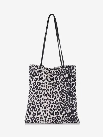 Brief Leopard Print Canvas Shoulder Bag