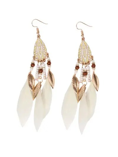 Water Drop Beaded Feather Fringe Earrings