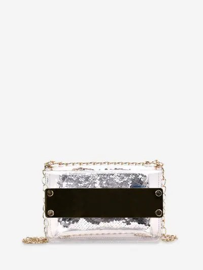 Sequins Translucent PVC Chain Crossbody Bag